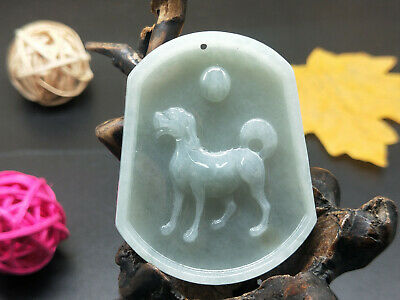 100% Chinese Hand-carved Delicate wearing Jadeite jade pendant Bean colored dog