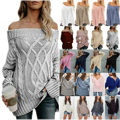 Plus Womens Off Shoulder Knitted Sweater Casual Jumper Pullover Loose Blouse Top