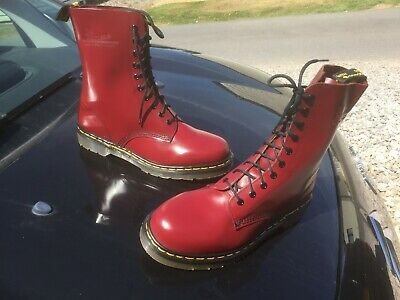 Vintage Dr Martens 1490 cherry red leather boots UK 10 EU 45 Made in England