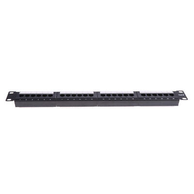 19 inch 1U Cabinet Rack Pass-through 24 Port CAT6 Patch Panel RJ45 Network Cable