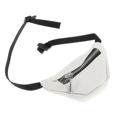 PU Leather Waist Fanny Pack Zipper Belt Bags for 1:3 BJD Dolls Costume Set White