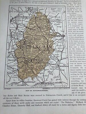 1923 Map Of Nottingham Shire 97 Year Old  Nottinghamshire Sherwood Forest Print
