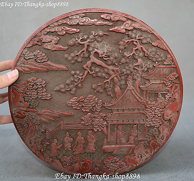 "10"" Fine Chinese Wood Lacquerware Pine Tree House Casket Jewel Case Jewelry Box"