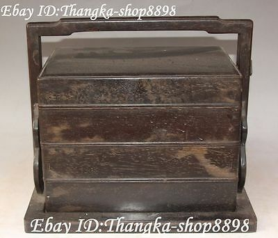 """11"""" Unique Chinese Ebony Wood Pure Hand Carving Ancient Lunch Box Canteen Statue"""