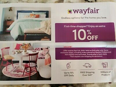 Wayfair 10% OFF YOUR FIRST ORDER Coupon Discount Code NEW CUSTOMER 04/30/2020