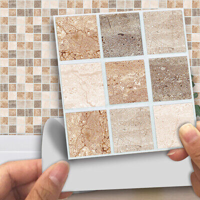 18pc Mosaic Stick On Self Adhesive Wall Tile Stickers Oil Kitchen Bathroom Decor