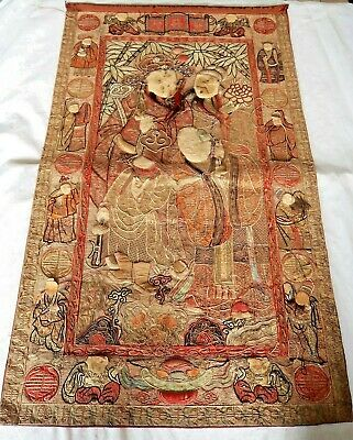 Chinese 19Th Century Qing Embroidered Silk Three Star Gods Eight Immortals Panel