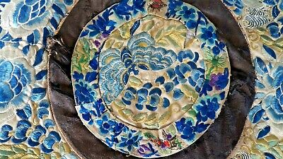 Superb Chinese 19Th Century Qing Embroidered Round Silk Panel – Moth / Butterfly
