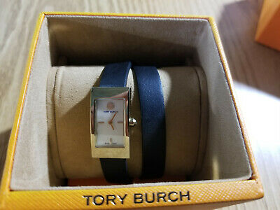 Tory Burch Black TRB2005 Women's Black Leather Buddy Gold-tone Watch Swiss Made