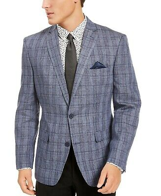$295 Bar III Slim Fit Plaid Sport Coat 36S Blue Linen Jacket