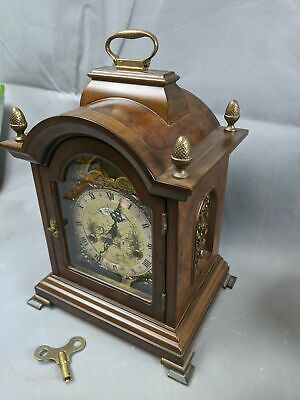 WARMINK Wuba Dutch Table CLOCK Moonphase Double Strike Bell Chime Walnut WORKS
