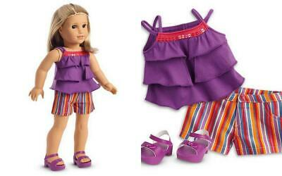 American Girl Summertime Stripes Outfit For Dolls Shorts Stop Sandals Nip