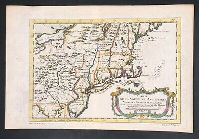 Antique 1757 Bellin Early Hand Colored Map Of New England NY PA NJ CT VT NH RI