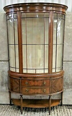 Beautiful  Antique Victorian inlaid Curved Glass China Display Cabinet
