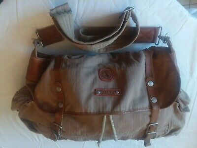 Vtg AIGLE Travel, Duffle Carry Bag Leather & Canvas- many uses!- lots of room!