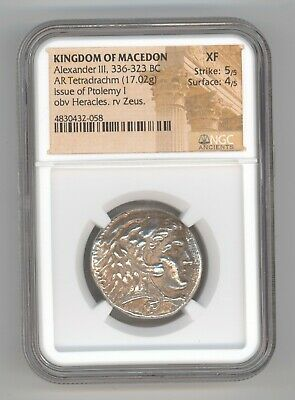 Kingdom Of Macedon Alexander III 336-323 BC AR Tetradrachm 17.02g NGC XF 5/5