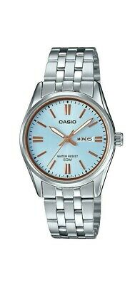 New Casio Ladies' Standard Analog Silver Stainless Steel LTP1335D-2A blue dial