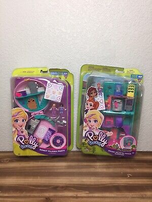 Lot 2 NEW Polly Pocket Compact Donut Pajama Party Playset/Pollyville Arcade