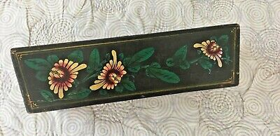 Antique Painted Wood Asian Floral Window Box Flower Planter