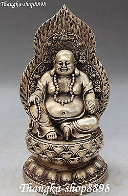 Chinese Buddism Silver Carving Happy Laugh Seat Lotus Maitreya Buddha Statue