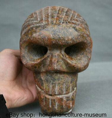 "6.4"" Ancient Hongshan Culture Old Jade Stone Carved human skeleton Skull Statue"