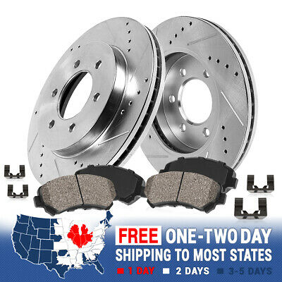 Front Drill And Slot Brake Rotors /& Ceramic Pads For Toyota Tundra Land Cruiser