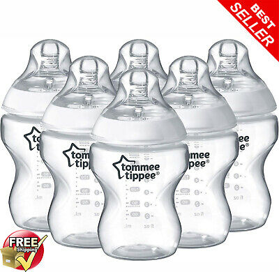 Tommee Tippee 6 x 260 ml Clear Baby Bottles Closer to Nature Anti-colic BPA Free