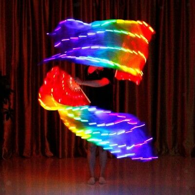 2x Colorful Silk Luminous LED Lights Belly Dance Fan Veils Stage Show Props