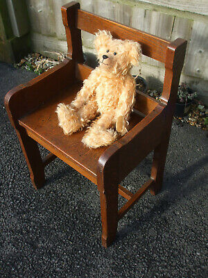 Victorian oak child's bench, Arts & Crafts period, ideal for a doll or bear seat