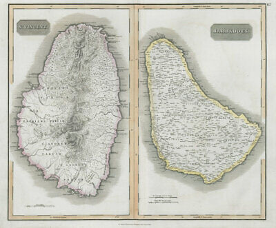 """St Vincent & """"Barbadoes"""". Barbados. West Indies Caribbean. THOMSON 1830 map"""