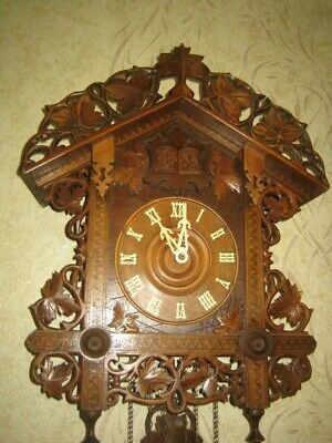 Large Inlaid  Antique Quail Cuckoo Clock