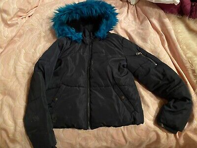 M&S Girls Fur Hood Winter Coat /Jacket -Age 11-12 Yrs Great Condition