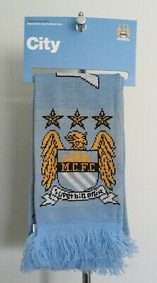 Manchester City FC Core Jacquard Scarf Sky Blue Brand New On Card Header
