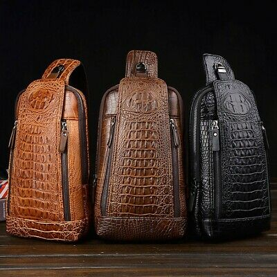 Style Men's Leather Chest Sling Bag Crossbody Backpack Daypack Purse Crocodile