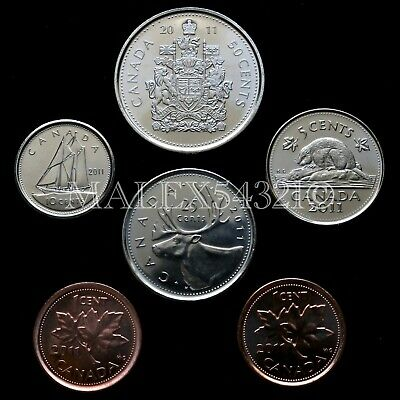 🇨🇦​Canada 2011 Decimal Coin Set 1 Cent To 50 Cent Uncirculated (6 Coins)