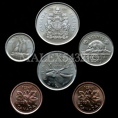 🇨🇦​Canada 2009 Decimal Coin Set 1 Cent To 50 Cent Uncirculated (6 Coins)