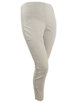 INC International Concepts Women's Curvy-Fit Studded Skinny Pants (8, Beige)