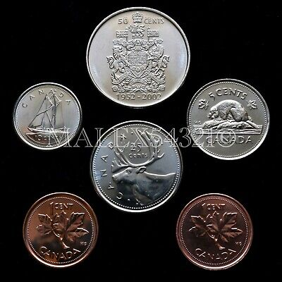 🇨🇦​Canada 2002 Decimal Coin Set 1 Cent To 50 Cent Uncirculated (6 Coins)