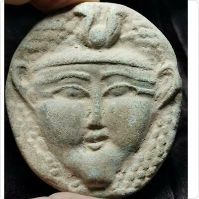 Ancient Unique Rare Faience King Engraved Face Relief # 158