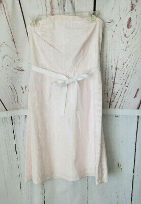 Petite Sophisticate Women's Pink and White Seersucker Strapless Dress Size 4 New