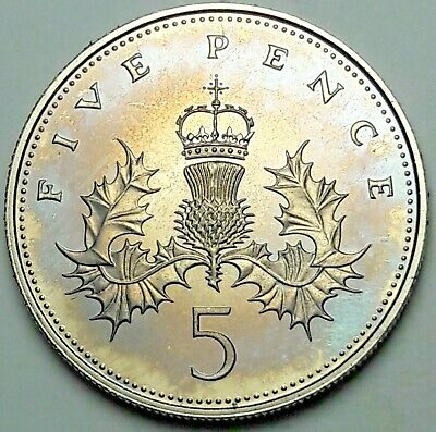 1984 Great Britain 5 Five Pence Proof Color Bu Unc Flawless Purple Toned (Dr)