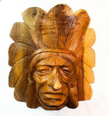 Vintage Wood Carved Cigar Store Indian Chief Head