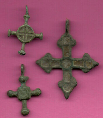 Lot of 3 Russia Bronze Ortodox Cross ca 1050 11-12th Viking Byzantine 668
