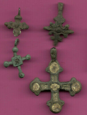 Lot of 4 Russia Bronze Ortodox Cross ca 1050 11-12th Viking Byzantine 667