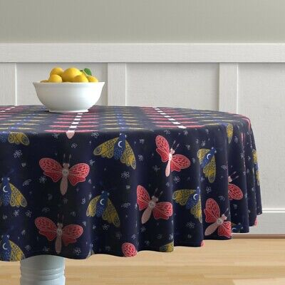 Round Tablecloth Mothsdc Moths Insects Deaths Head Moth Skull Moon Cotton Sateen