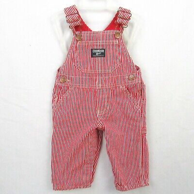 Vintage OshKosh B'Gosh Baby Bib Overalls Vestbak 6 Month Red Striped Lined