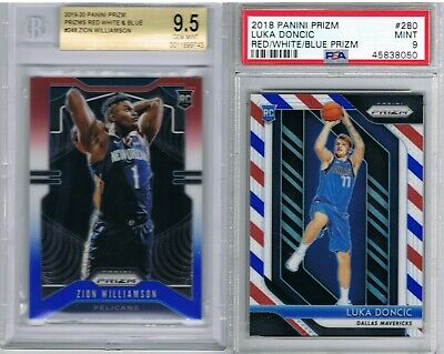 Prizm Red White Blue Zion Williamson #248 RC BGS 9.5 + Luka Doncic Rookie PSA 9