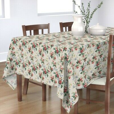 Tablecloth Wild Roses Roses Victorian Antique Briar Cotton Sateen
