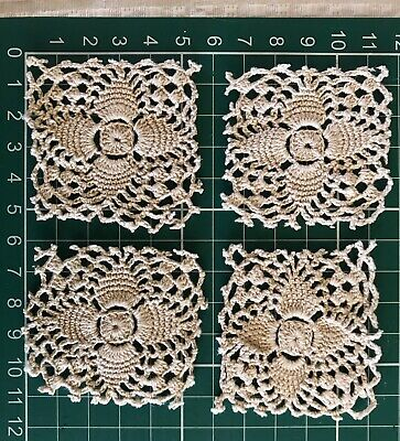 4 X Small Ecru  Vintage Crochet Doilies Suit Craft Junk Journal Shabby Chic Lace