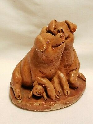 Vintage CLAY / TERRA COTTA Trio of PIGS Sow & Boar and Adorable PIGLET